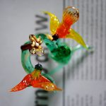 100% handmade murano glass by third generation glass master. Glass tree with flowers and birds.